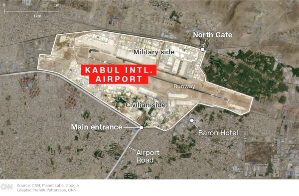 Explosion reported outside Kabul's Hamid Karzai International Airport, Pentagon says
